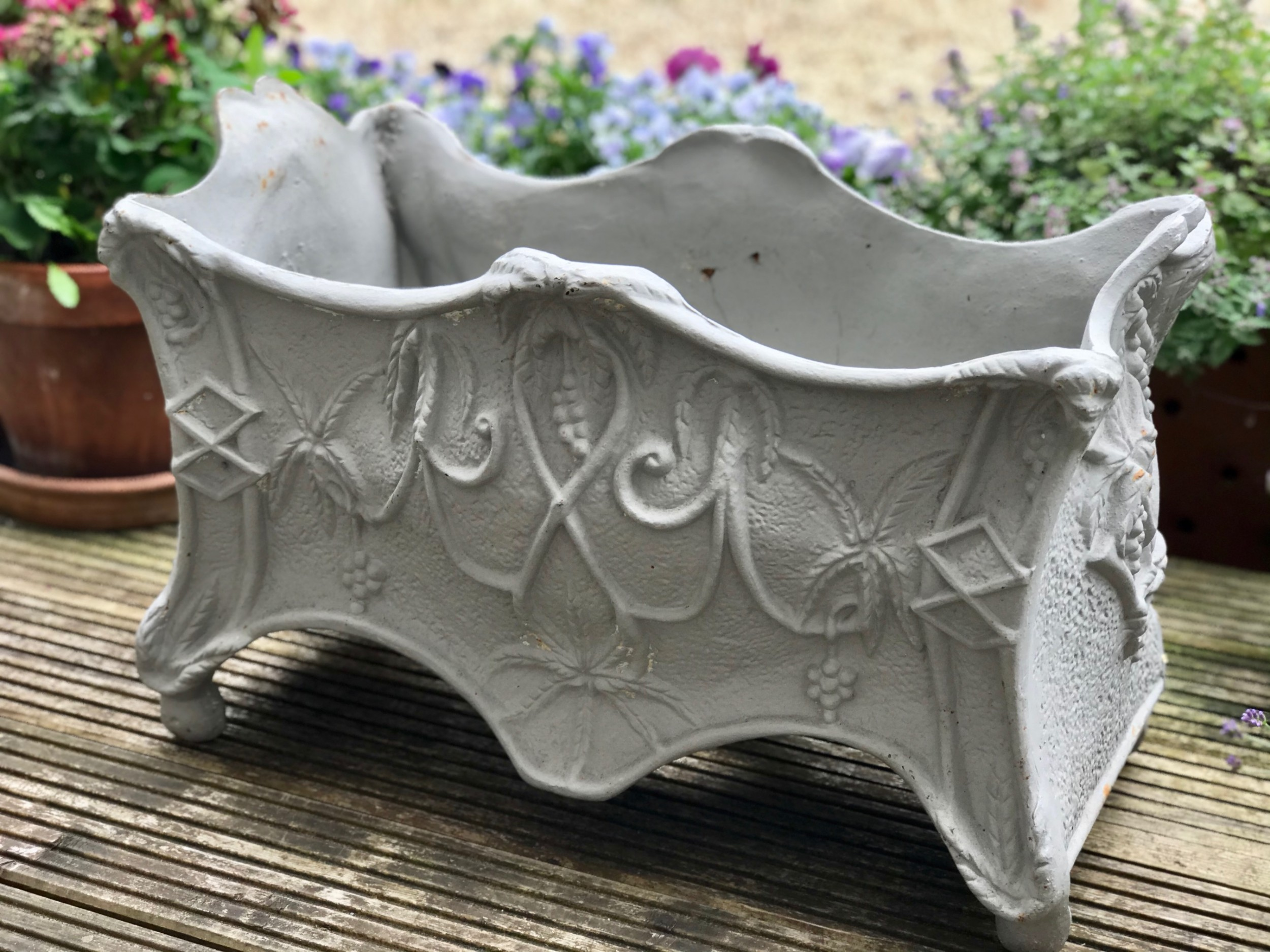 a large ornate painted castiron planterjardiniere early 19th century possibly french architectural garden ornament