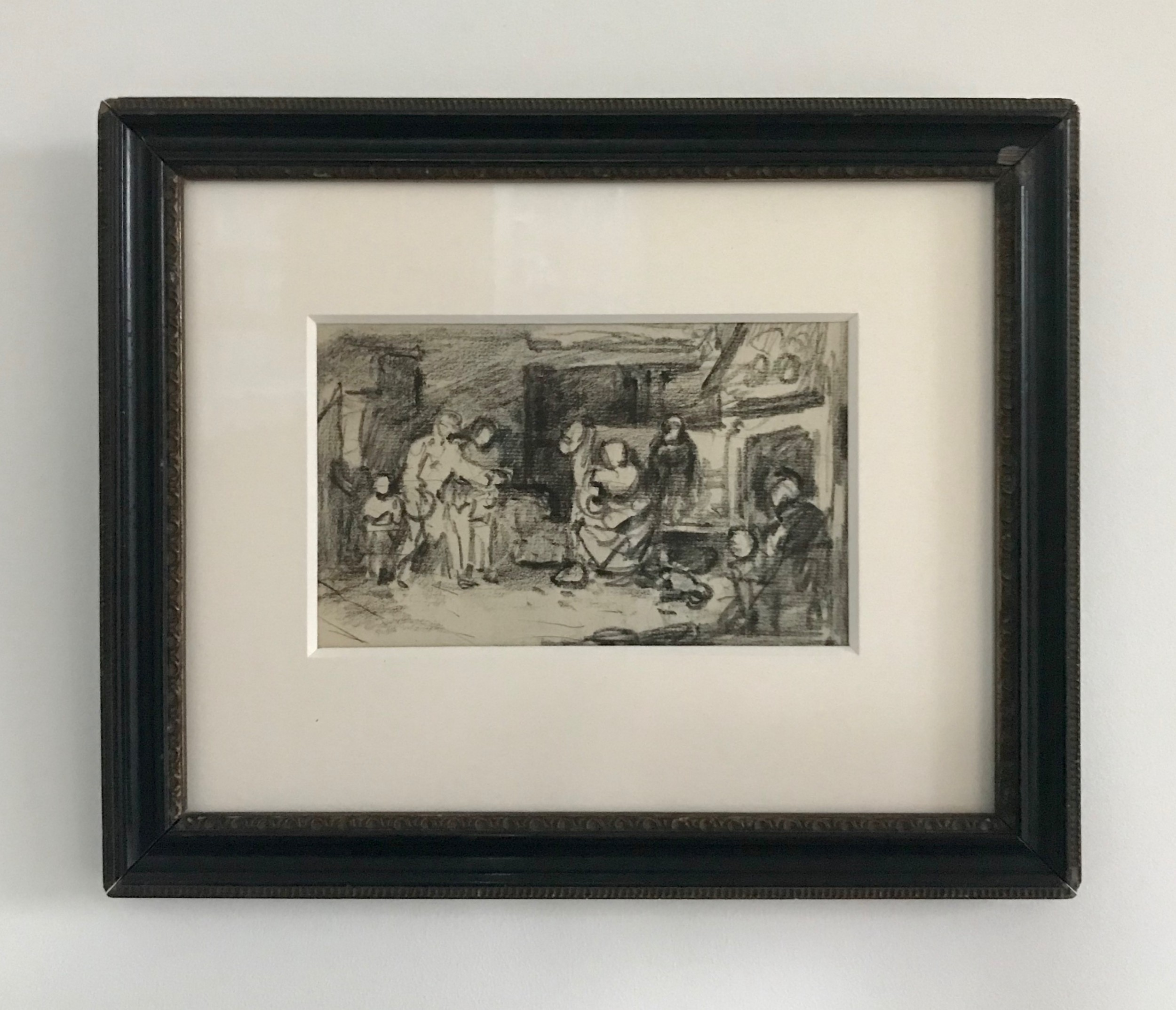 an intricate compositional drawing by andrew geddes ara probably blind man's buff early 19th century scottish drawing likely inspired by sir david wilkie