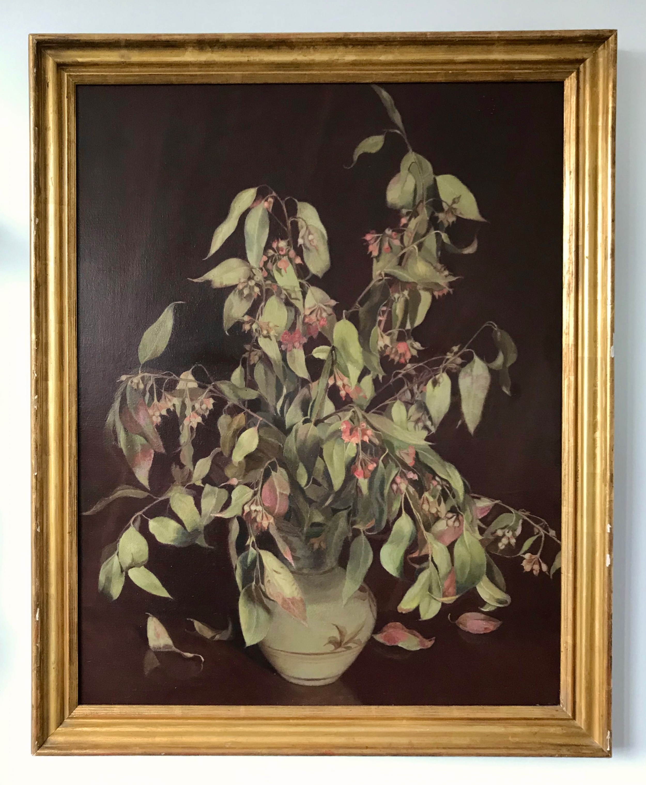 a large still life painting of eucalyptus by lilian jelly aka lady 'jane' kelly gerald kellys wife exsir gerald kelly collection modern british art by rare female artist 1950s