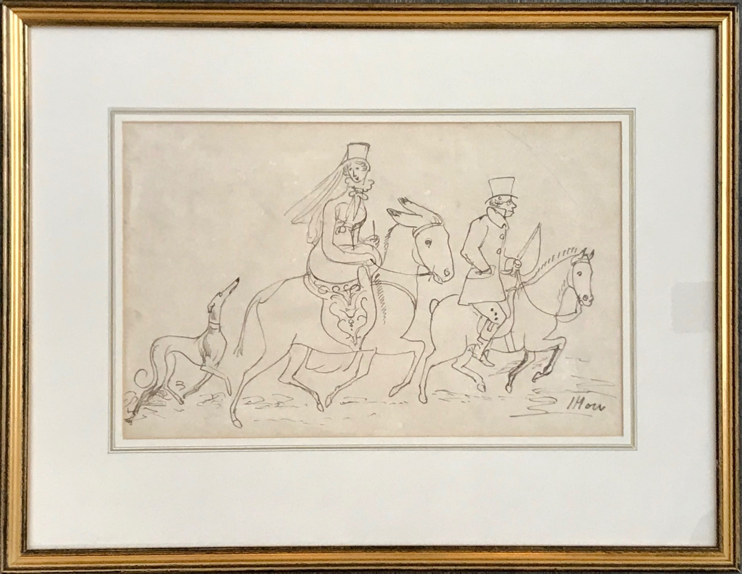 a large humorous regency drawing by famed animal artist james howe 1780 1836 depicting a noble lady riding a donkey early 19th century scottish art