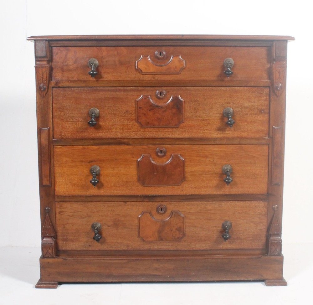 unusual late c19th antique victorian mahogany walnut chest of drawers