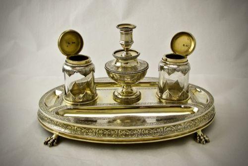 victorian silver gilt inkstand