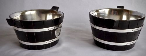 pair of scottish silver and wooden butter piggins