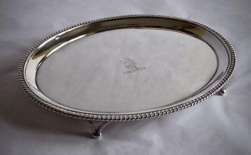 george iii oval crested salver with gadroon border