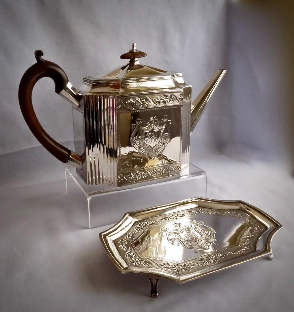 a fine george iii teapot on stand