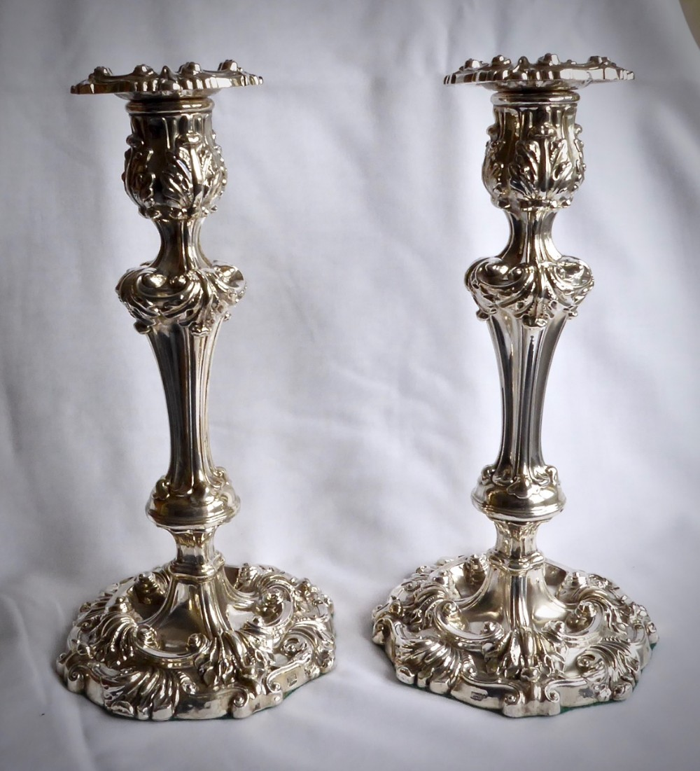 large pair of victorian candlesticks