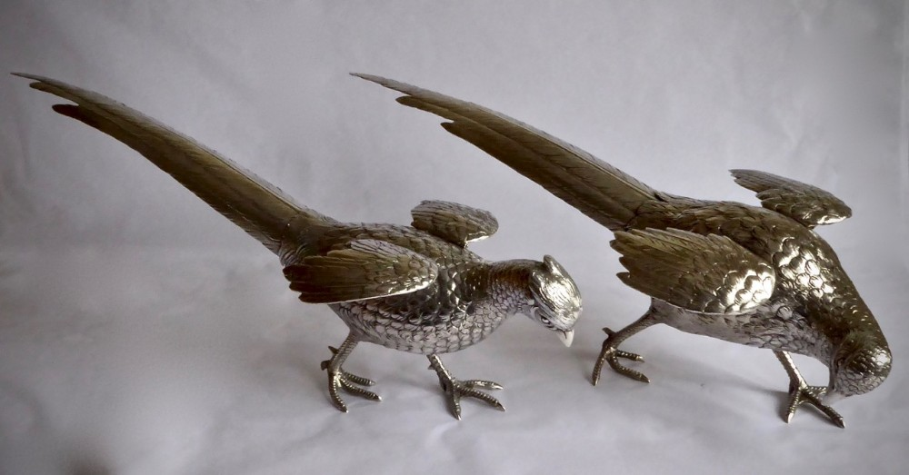 fine pair of silver french pheasants with hinged wings