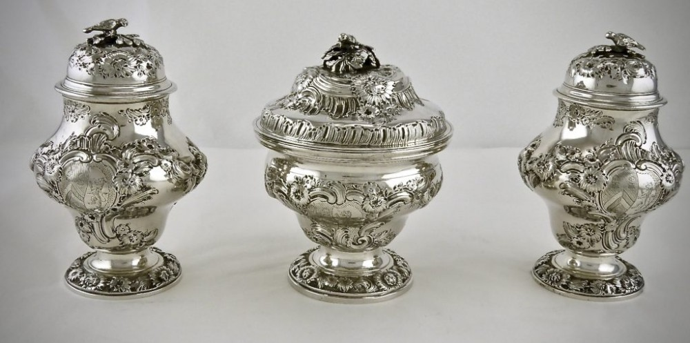 set of three george iii tea caddies