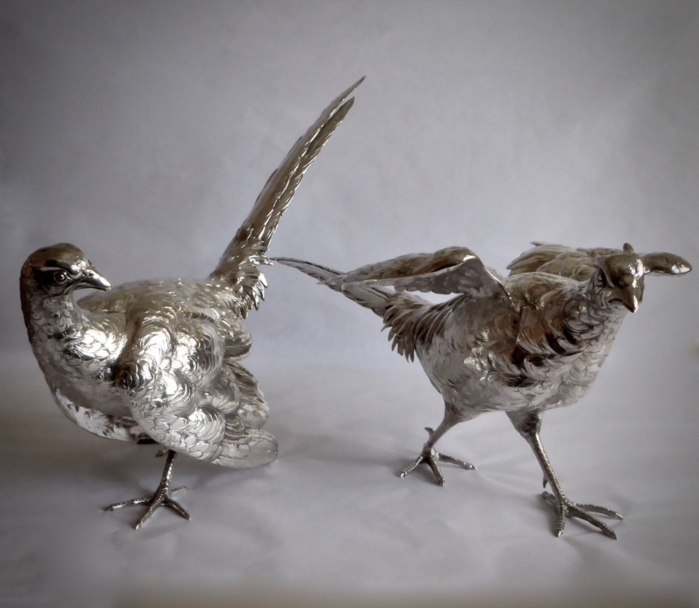 large pair of continental silver model pheasants