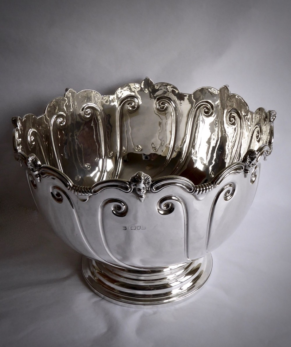 a large victorian silver bowl