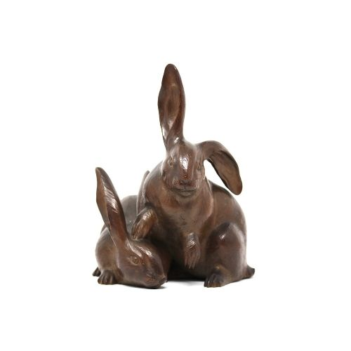 japanese carved rabbit group