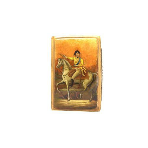 silver lacquer military snuff box