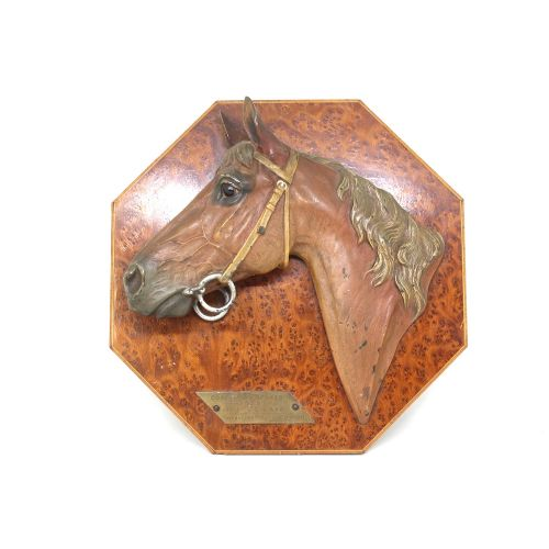 bronze horse plaque signed chode