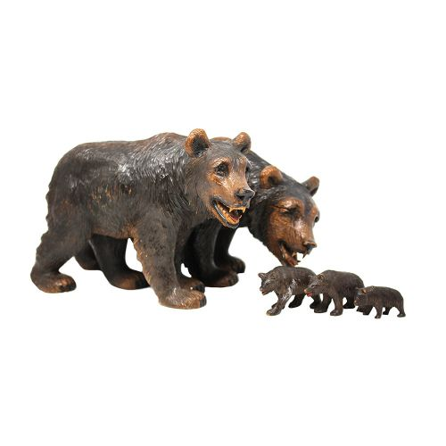 black forest hand carved bear family group