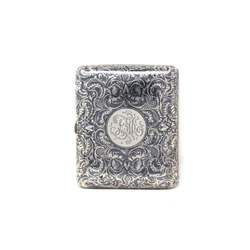 russian silver gilt niello cigarette case