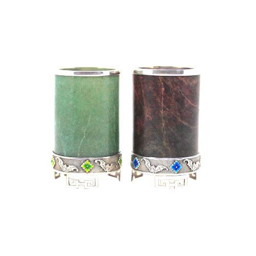 silver enamel jade hardstone brush pots