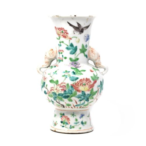 19th century chinese polychrome elephant vase qianlong mark