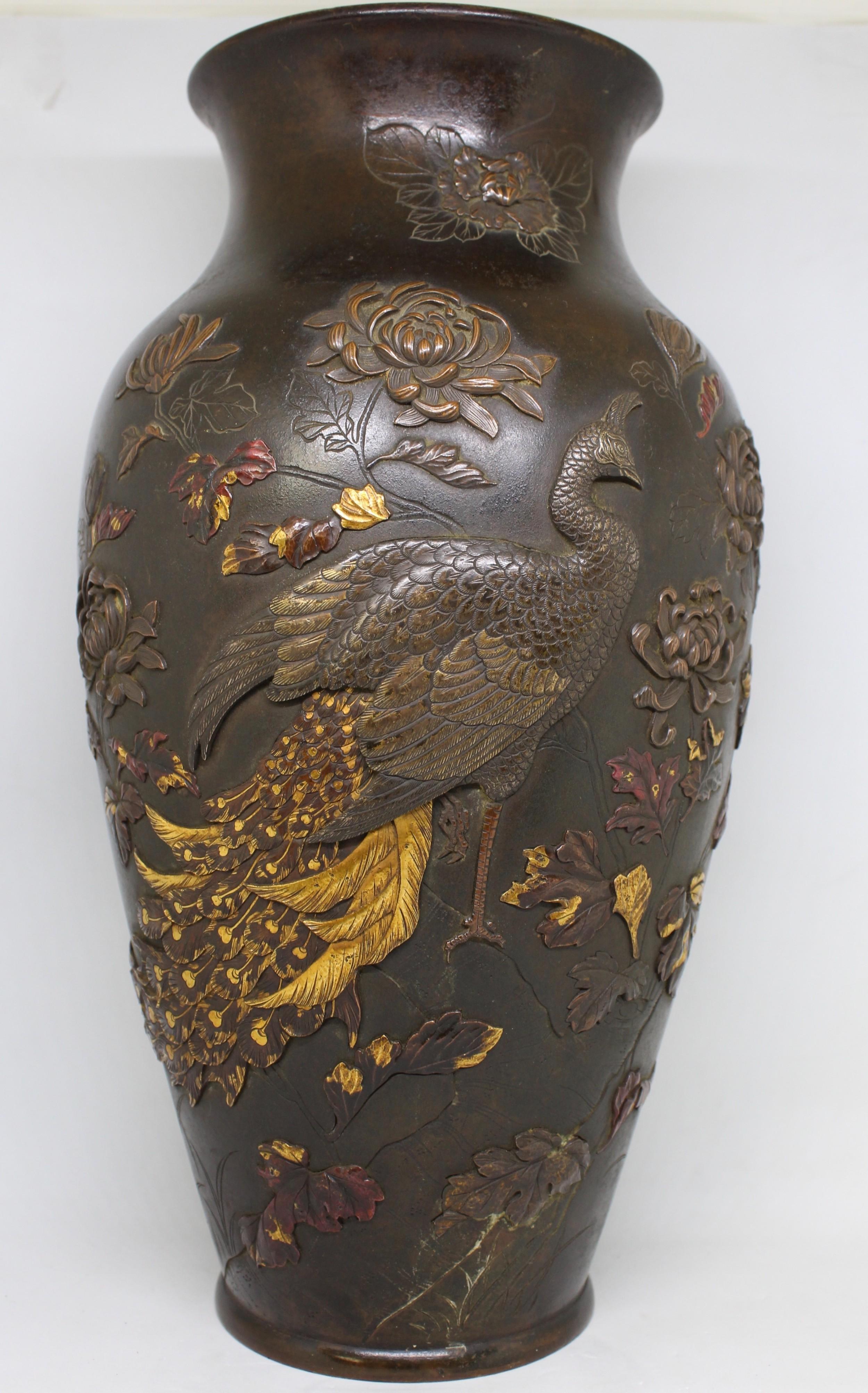 museum quality japanese bronze vase