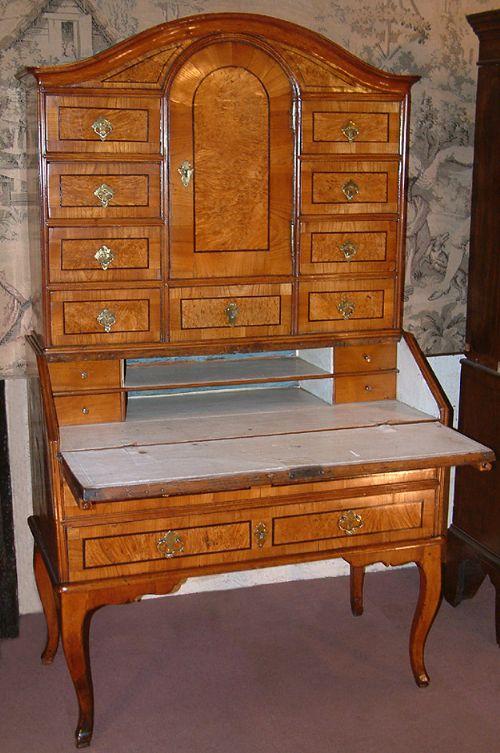 a scandinavian 18th century fruit wood bureau cabinet c 1750