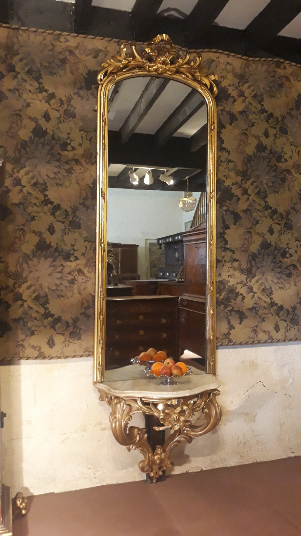mid 19th century gilt wood pier console and mirror