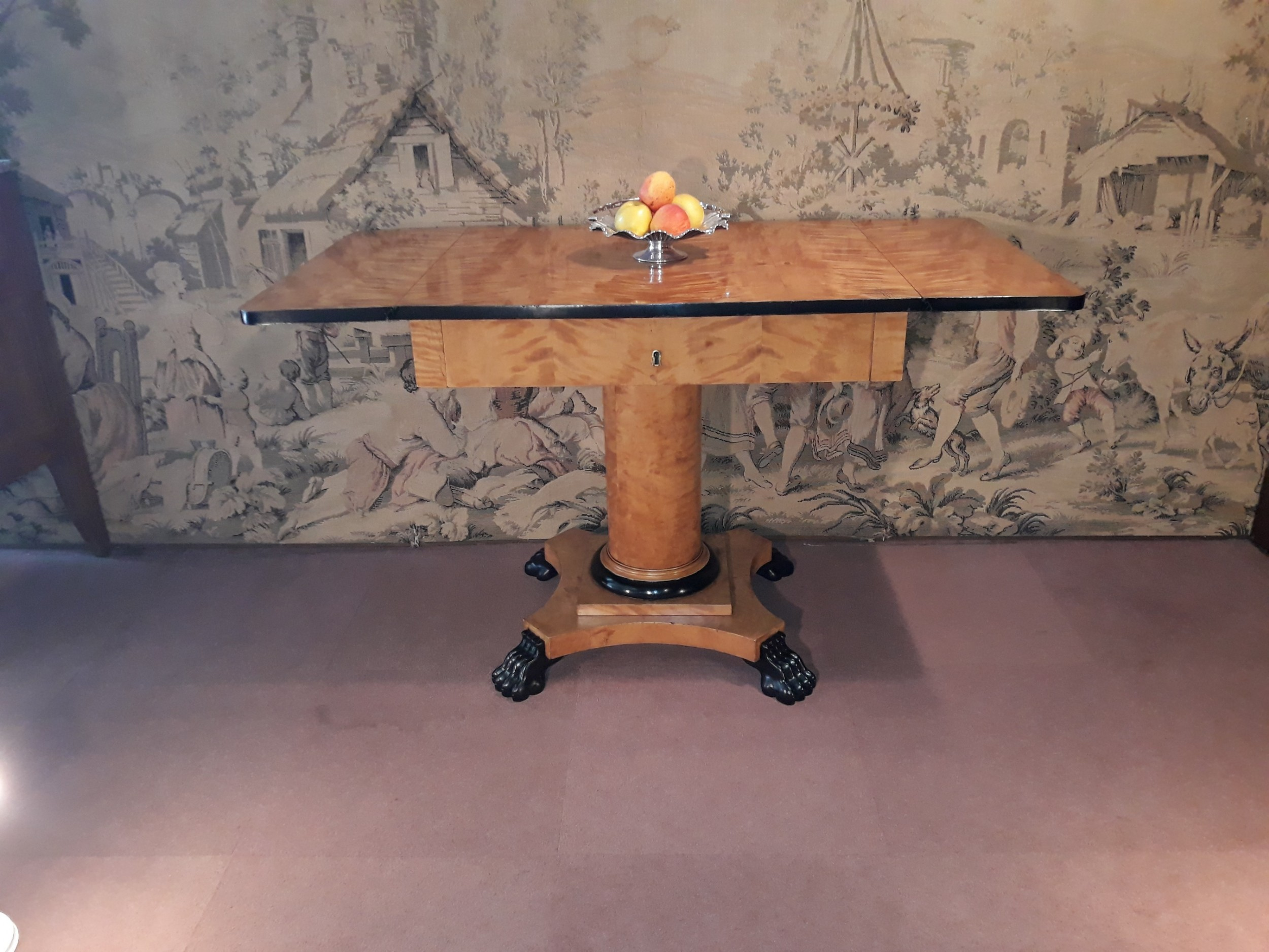 early 19th century biedermeier satin birch sofa table c 1820