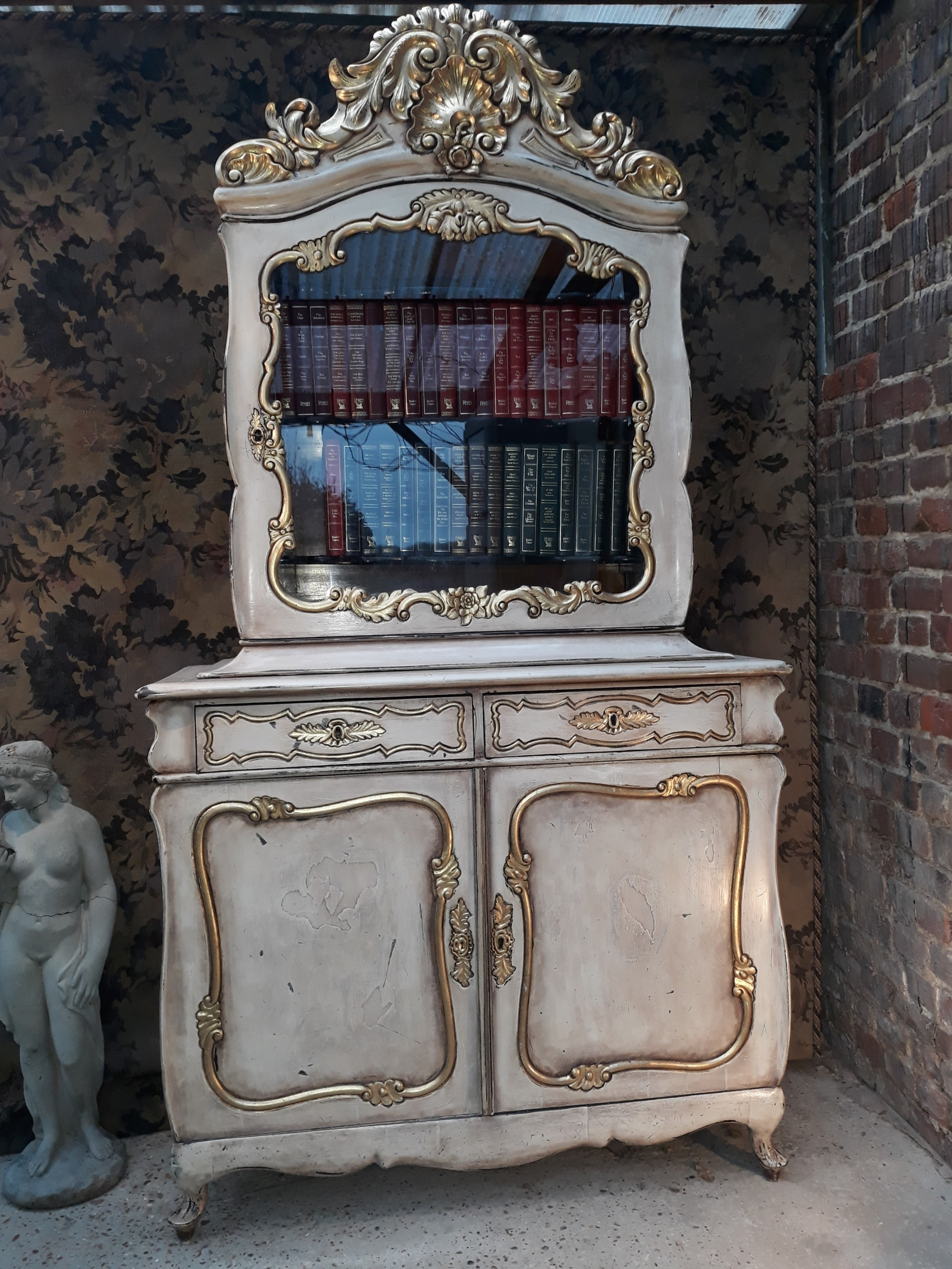 19th century italian painted and carved gilt bookcase cabinet