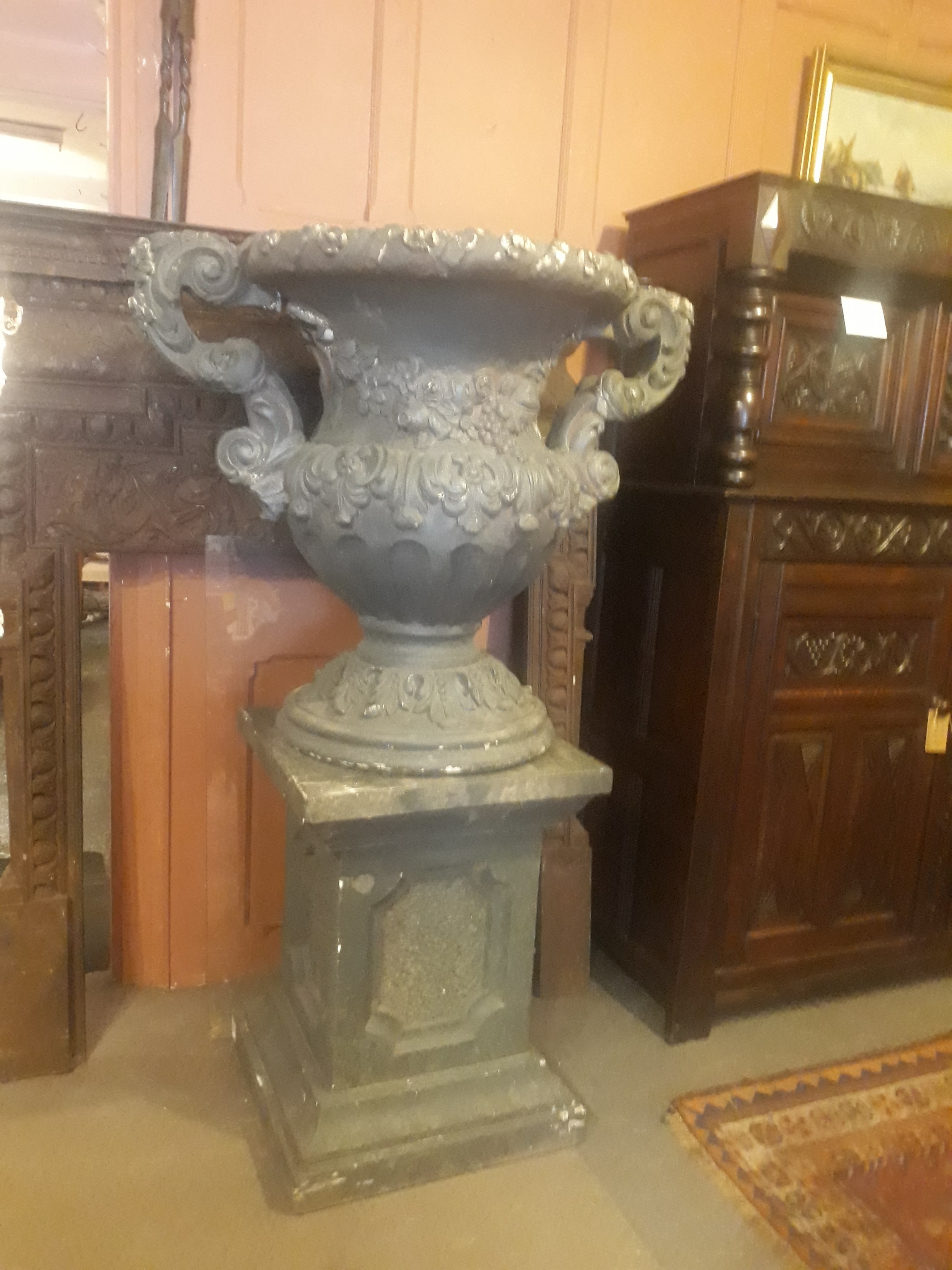 very large 19th century reconstituted stone urn
