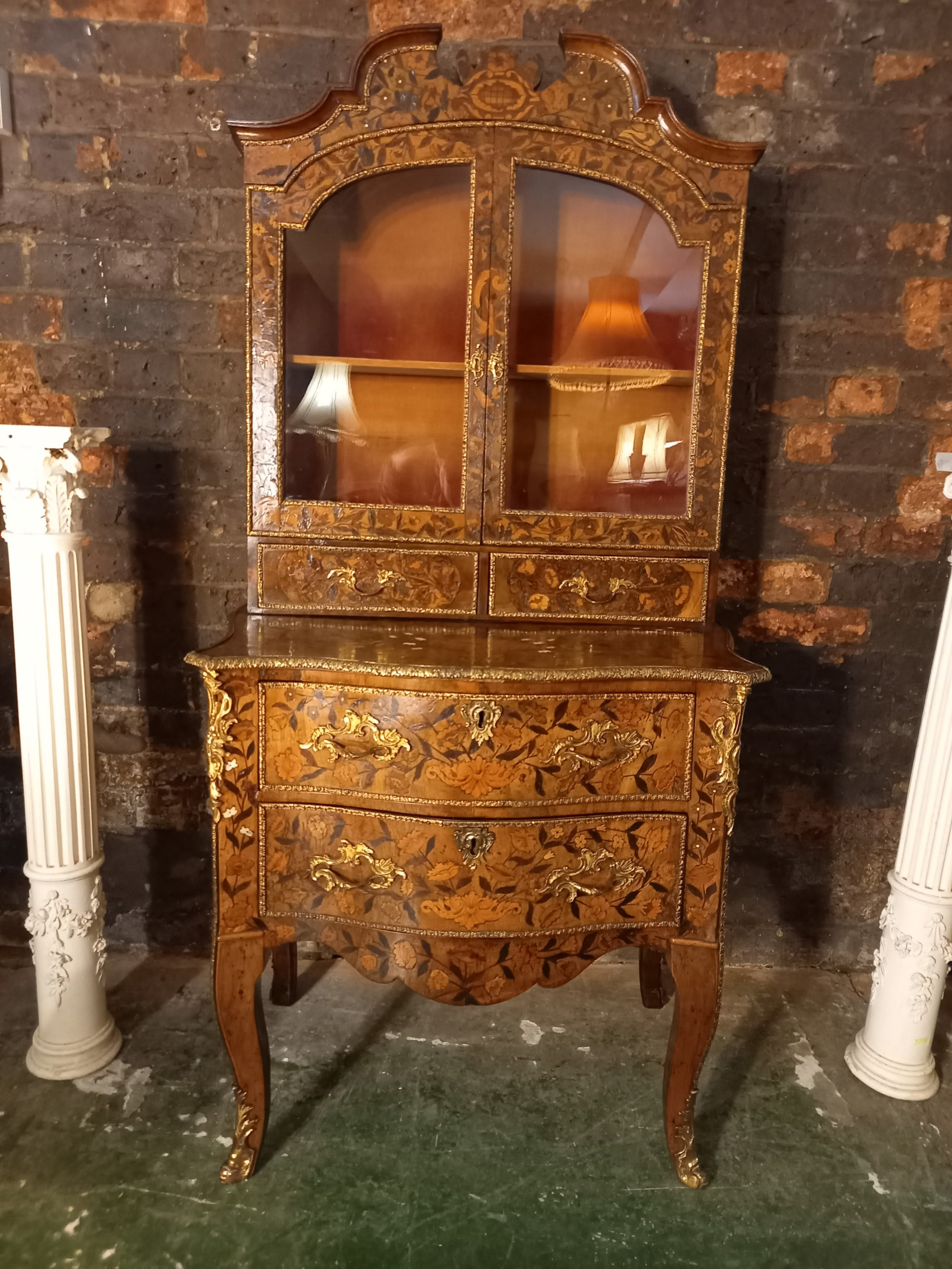 small 18th century dutch walnut marquetry cabinet on chest