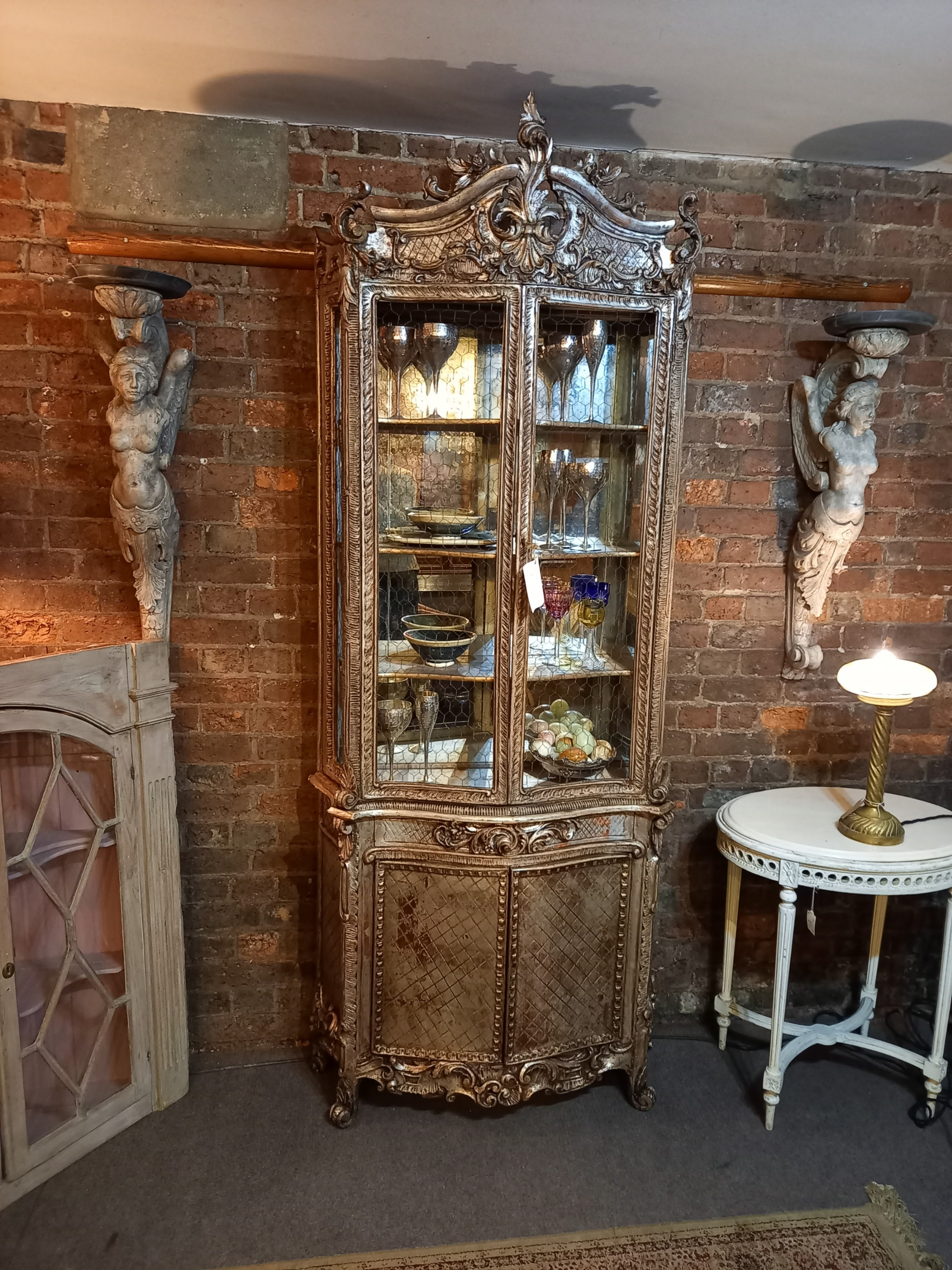 18th century italian carved silver giltwood display cabinet c 1770