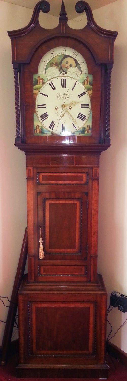 fine 19th century regulator movement painted arch dial moon phase longcase clock 'john murray of lockerbie'