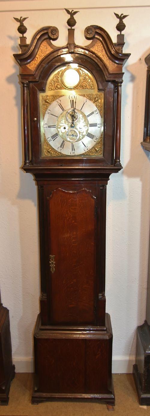good 18th century lancashire oak mahogany brass dial 8 day longcase clock 'winstanley wigan'