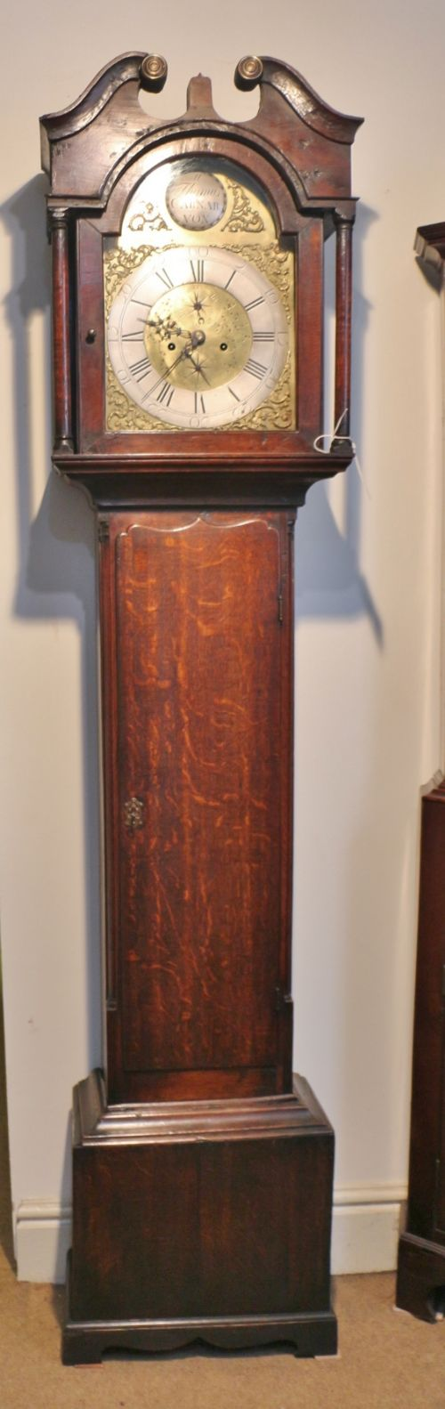 a small 18th welsh oak brass 8 day longcase clock 'morris thomas caernarfon'