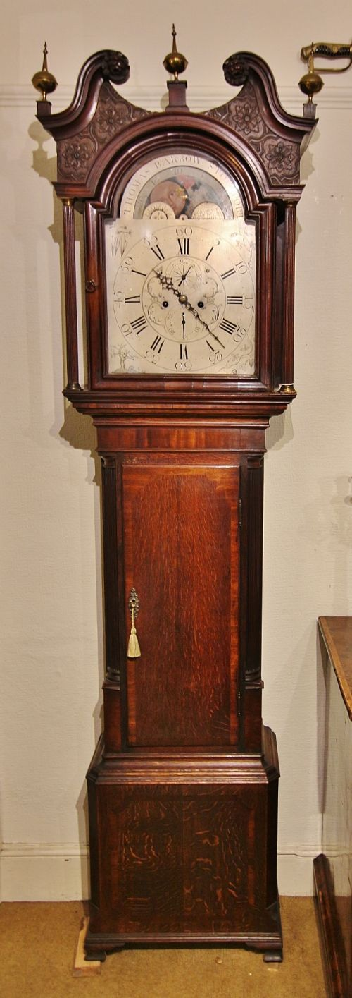 fine 18th century oak mahogany 8 day rolling moon longcase clock 'thomas barrow stockport'
