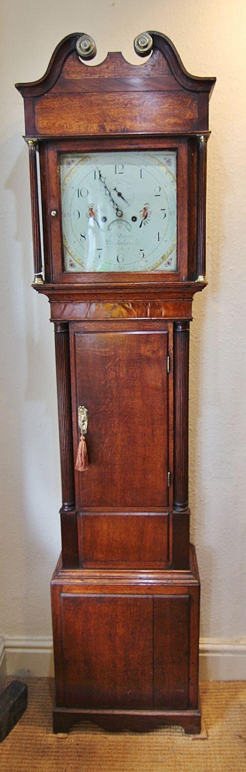 19th century 8 day welsh oak longcase clock ' jones beaumaris'