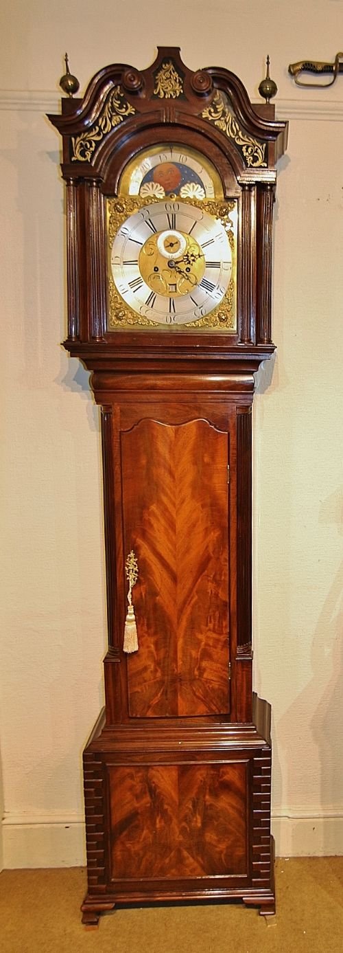 fine 18th century liverpool mahogany brass moon phase 8 day longcase clock 'joseph highfield'