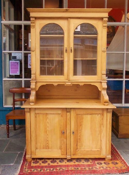 antique pine glazed kitchen cupboard