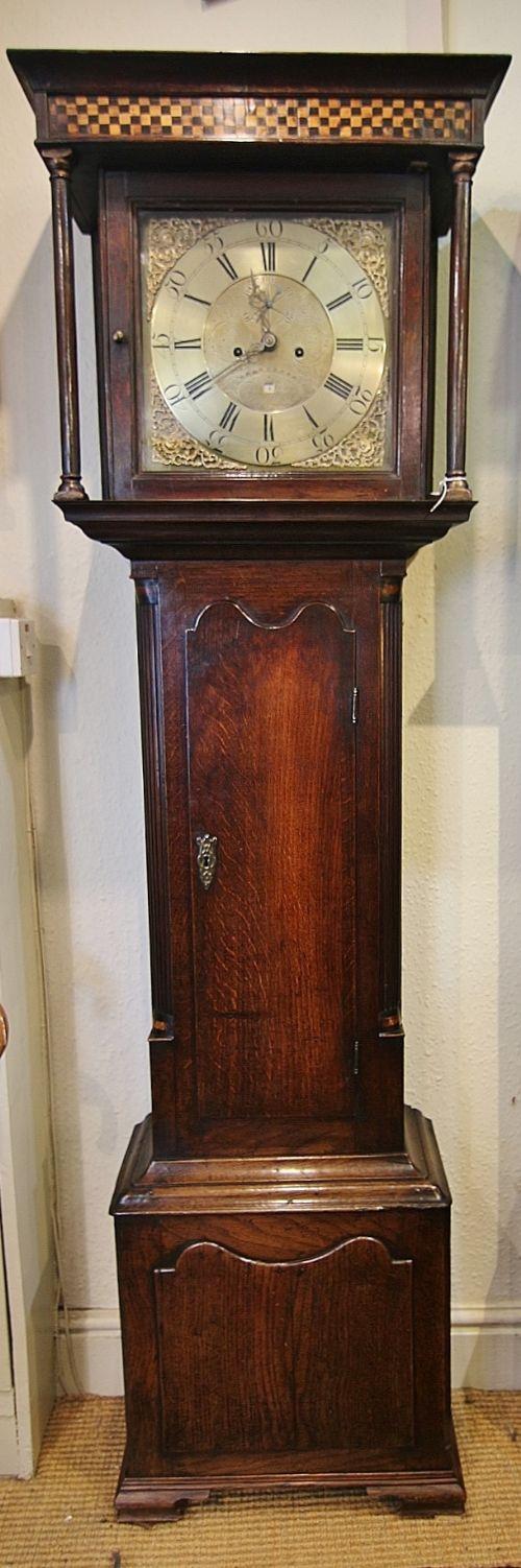 rare welsh small oak inlaid 8 day longcase clock 'thomas evans bontuchel'