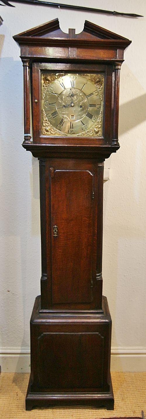 rare welsh 18th century brass 8 day oak longcase clock 'o evans llanerchymedd'