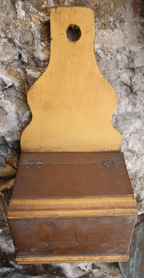 19th century primitive painted candle box