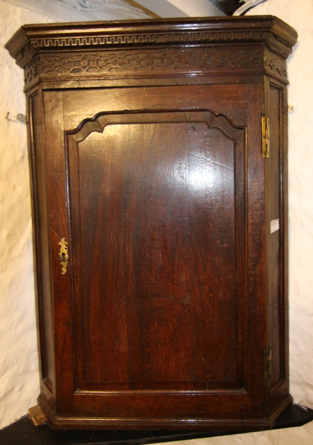 georgian oak shaped raised panel corner cupboard