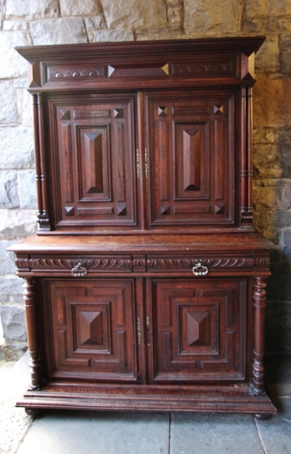 large impressive 19th century flemish oak sideboard dresser