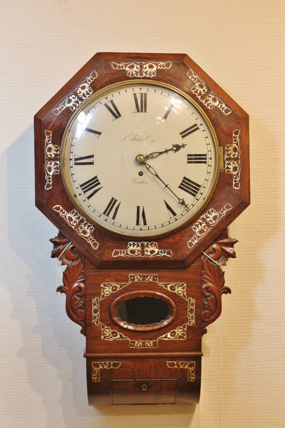 19th century inlaid rosewood fusee london wall clock 'j fisher esq'