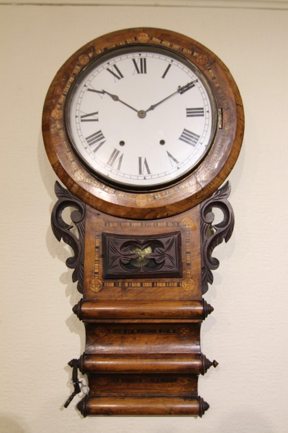 19th Century Inlaid Walnut 8 Day Striking Wall Clock