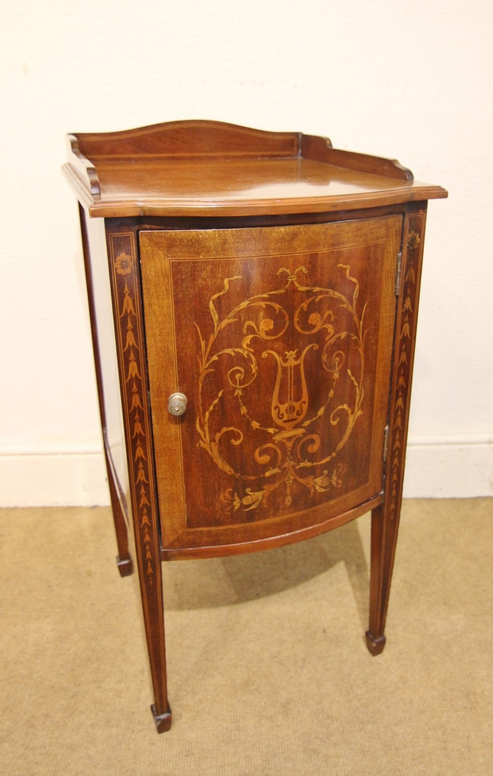 sheraton style inlaid edwardian bedside pot cupboard