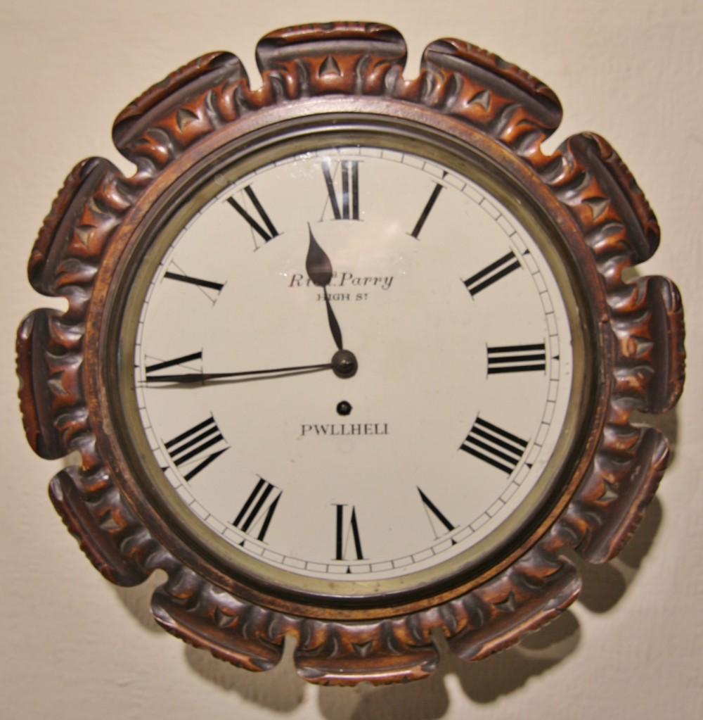 19th century welsh carved mahogany wall clock