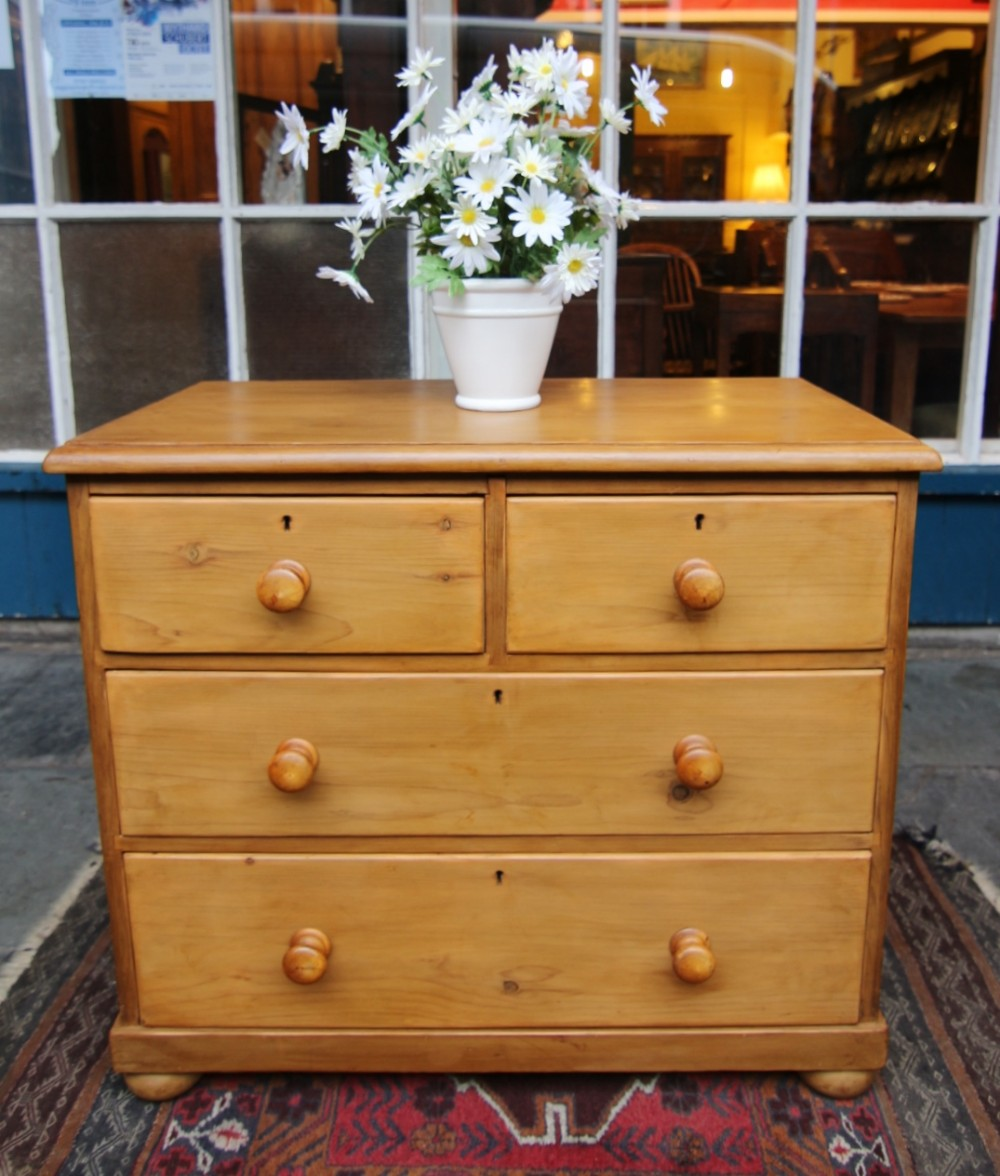 clean 19th century pune rounded corner pine chest of 4 drawers