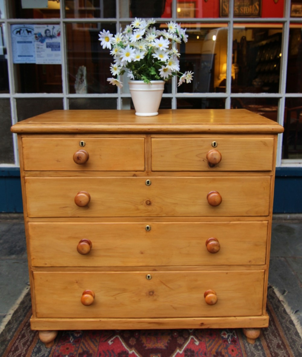 clean 19th century pine 5 drawer pine chest of drawers with brass escutcheons