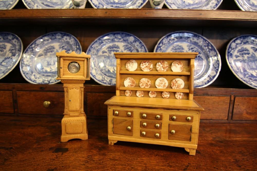 miniature welsh oak dresser and grandfather clock