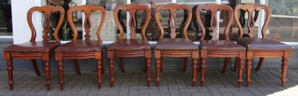 set of 6 19th century mahogany balloon back dining chairs