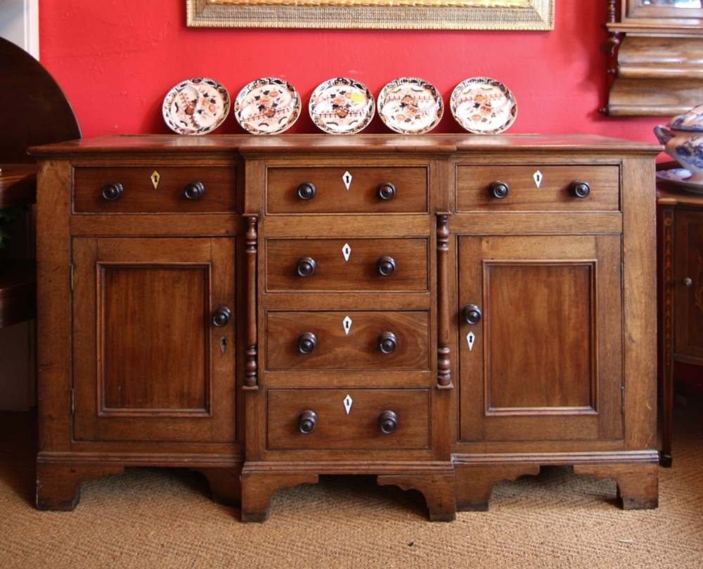19th century oak and mahogany breakfront dresser base
